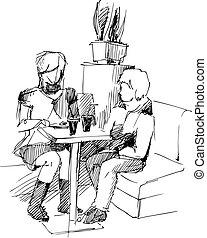 paire, table, jeunesses