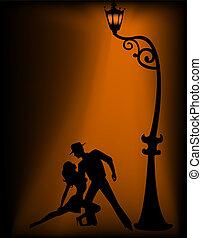 paire, tango, danse