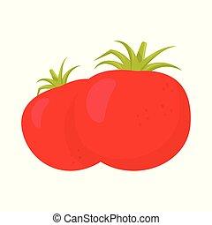 paire, tomato., rouges, mûre