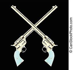 paire, traversé, fusils