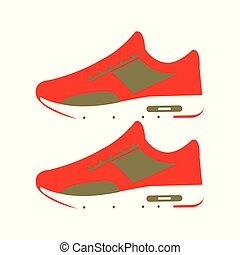 paire, vecteur, chaussures rouges, illustration, gymnase