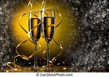 paire, verre champagne
