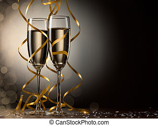 paire, verre, champagne