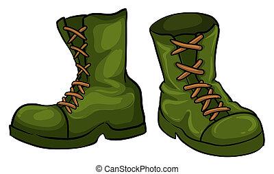 paire, vert, bottes