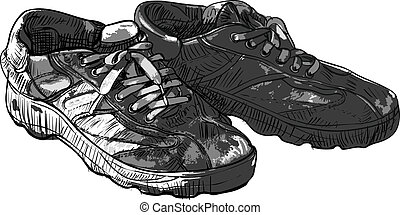 paire, vieux, chaussures occasionnelles