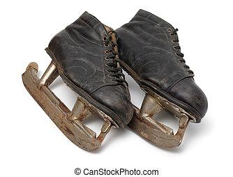 paire, vieux, patins glace
