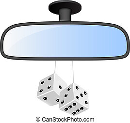 paire, voiture, blanc, dés, miroir