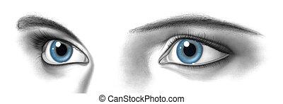 paire, yeux, femme