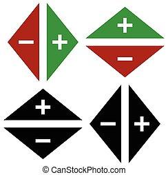 paires, opposé, symbole, flèches, directions., marques, plus, moins