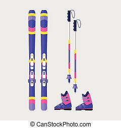 Pairs of skis, boots and poles, flat style vector illustration