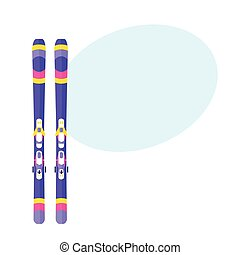 Pairs of skis flat isolated vector illustration