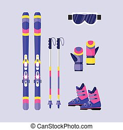 Pairs of skis, poles, boots, gloves, mask, winter sport elements