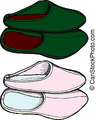 Pairs of Slippers - Cartoon of isolated slippers in pink and...
