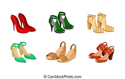 Pairs of Women Shoes with High Heels Vector Set