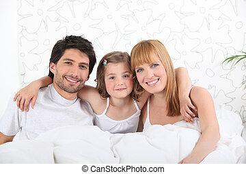 pais, cama, criança