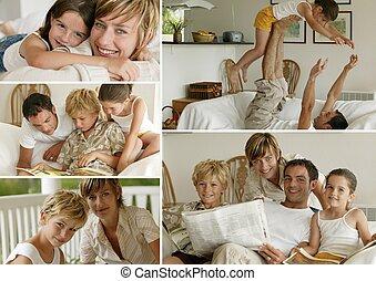 pais, com, crianças, casa, photo-montage