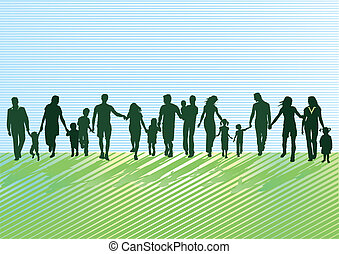 pais, com, crianças