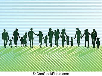 pais, com, crianças, e, jovem, peo