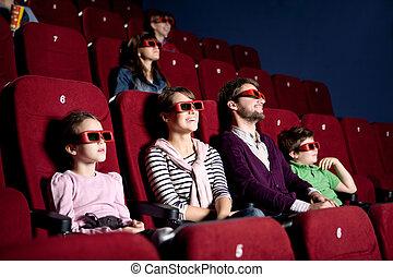 pais, com, crianças, em, a, cinema
