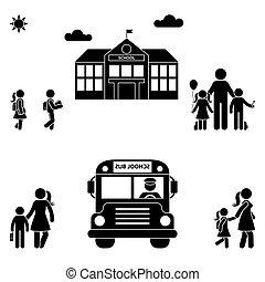 pais, com, crianças, figura vara