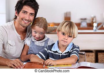 pais, com, filhos jovens