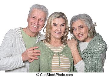 pais, com, maduras, filha