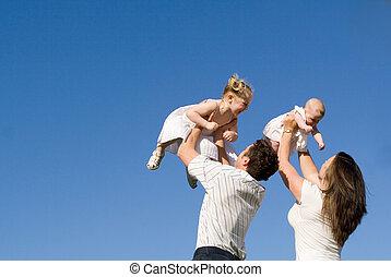 pais, crianças, família, feliz