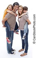 pais, crianças, passeio, dar, piggyback