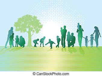 pais, e, crianças