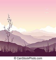 paisagem, árvore, capim, montanha