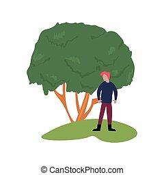 paisagem árvore, homem