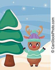 paisagem árvore, natal, inverno, rena