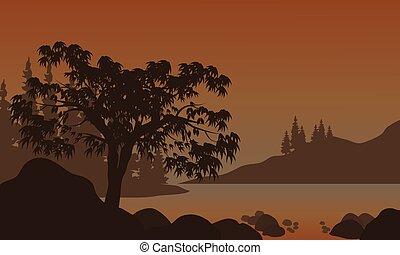 paisagem, árvores, silhuetas, noturna, rio, montanhas