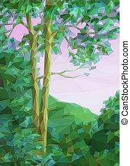 paisagem, árvores verdes