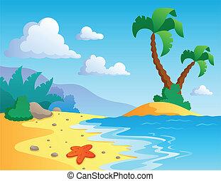paisagem, 1, tema, praia