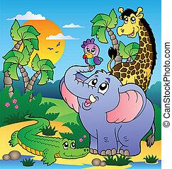 paisagem, 2, animais, africano
