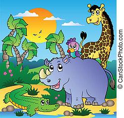 paisagem, 3, animais, africano