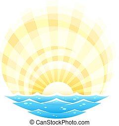 paisagem abstrata, com, mar, ondas, e, sol ascendente