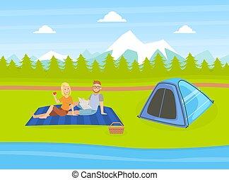 paisagem, acampamento, floresta, par, verão, montanhas, turista, vetorial, ilustração, barraca, aventuras, natural, romanticos, viagem, tendo