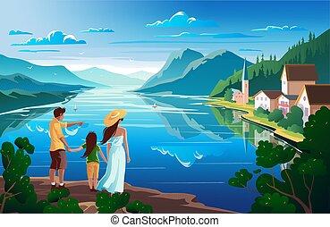 paisagem, admira, família, lake., bonito, ilustração, natureza, montanha, vetorial