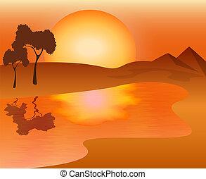 paisagem, africano, pôr do sol, -