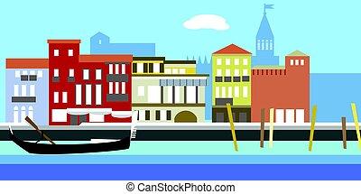 paisagem., antigas, boat., simples, ilustração, tradicional, casas, vetorial, cityscape, rio, style., canal, europeu