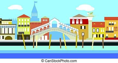 paisagem., antigas, simples, channel., ilustração, tradicional, casas, vetorial, cityscape, rio, style., europeu