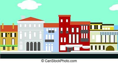 paisagem., antigas, simples, ilustração, tradicional, casas, vetorial, cityscape, style., europeu