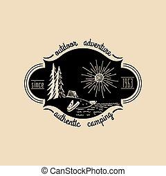 paisagem., ao ar livre, emblema, acampamento, lago, sinal, adventures., costa, vetorial, hipster, retro, logo., desenhado, mão, turismo, emblema