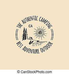 paisagem., ao ar livre, emblema, logo., acampamento, lago, etiqueta, adventures., costa, vetorial, hipster, retro, mão, desenhado, sinal, turismo