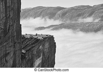 paisagem., area., nublado, norueguês, fjord, aventura, ...