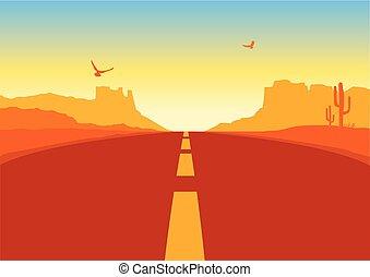 paisagem., arizona, pradaria, americano, vetorial, fundo, deserto, estrada