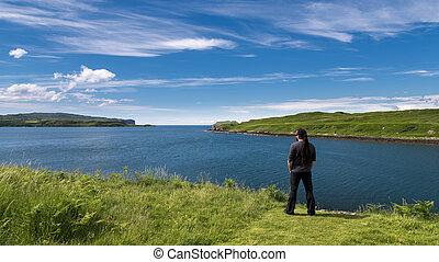 paisagem, beleza, loch, harport, admirar, escocês, homem
