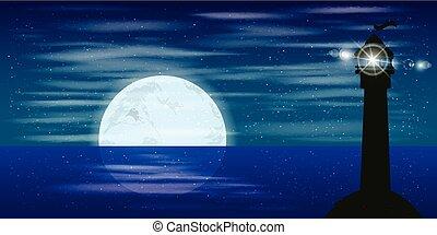 paisagem., céu noite, lua, reflexão, baliza, sinal